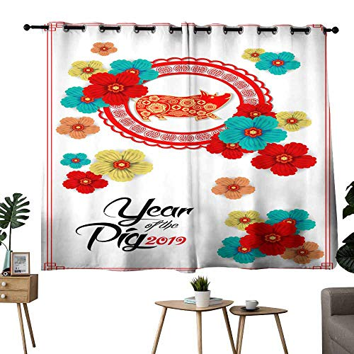 (Bedroom windproofcurtain Happy Chinese New Year year of the pig paper cut style Zodiac sign for greetings card flyers invitation posters brochure banners calendar privacy protection 72