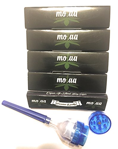MOTAA Classic King Size Rolling Papers 5 Packs with Unbleached FILTER TIPS, BONUS Mini cone Grinder (Rolling/Grinder)