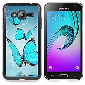 "Qstar Arte & diseño plástico duro Fundas Cover Cubre Hard Case Cover para Samsung Galaxy J3(2016) J320F J320P J320M J320Y (Azul chispeante de la mariposa"")"