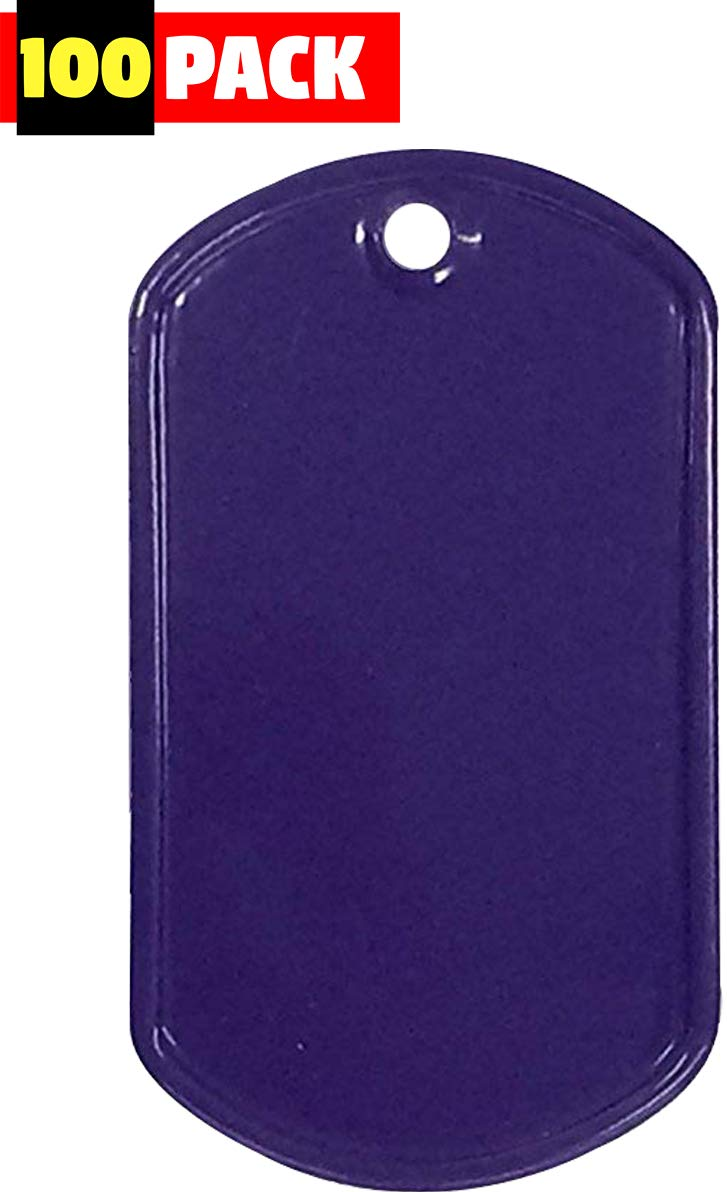 Army Universe Stainless Steel Military Dog Tags 100-Pack [Purple]