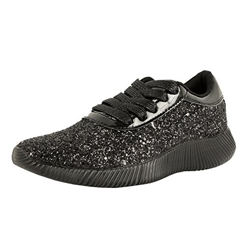 Guilty Schuhe Damenmode Glitter Metallic Schnürschuh Sparkle Slip On - Wedge Platform Sneaker Blackv2 Glitter