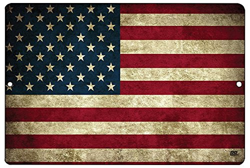 (Rogue River Tactical USA American Flag Metal Tin Sign Wall Decor Man Cave Bar US United States Rustic )