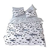 VClife White Blue Grey Reversible Duvet Cover, Twin Queen Fish Ocean Striped Geometric Bedding Sets, 100% Cotton 3 Pieces Bedding Collection, Great for Boy Girl Woman Man Teens Families Beloved, Twin