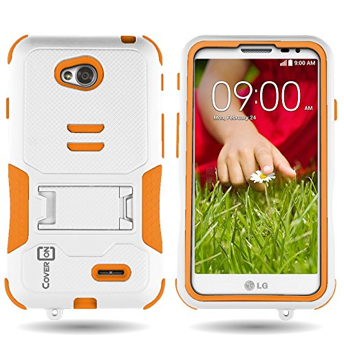 LG L70 Case, CoverON Protective Slim Fit Hybrid Armor Case Neon Orange / White Kickstand Cover for LG Optimus L70 Exceed 2 Realm Pulse Ultimate 2 L41C (Lg Case Optimus Orange L70)
