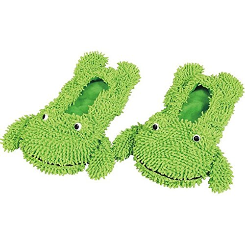 Dust Cleaner Slippers House Bathroom Floor Cleaning Mop Cleaner Slipper Lazy Shoes animal (Green) (Vacume Wand)