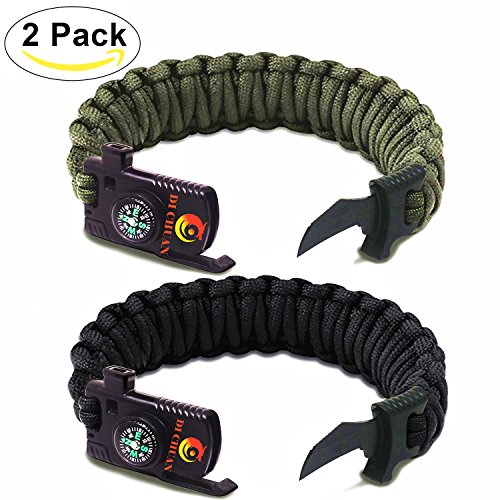 Armygreen Paracord Bracelet Military Outdoor Paracord Survival Bracelet Parachute Rope Bracelet - Compass,Flint Stone,Fire Sticks,Knife,Whistle