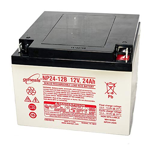 - EnerSys Genesis NP24-12B - 12 Volt/24 Amp Hour Sealed Lead Acid Battery with Nut-Bolt Terminals