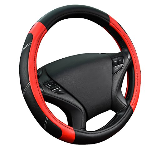 CAR PASS Line Rider Leather Universal Steering Wheel Cover fits for Truck,SUV,Cars(Black and Red)