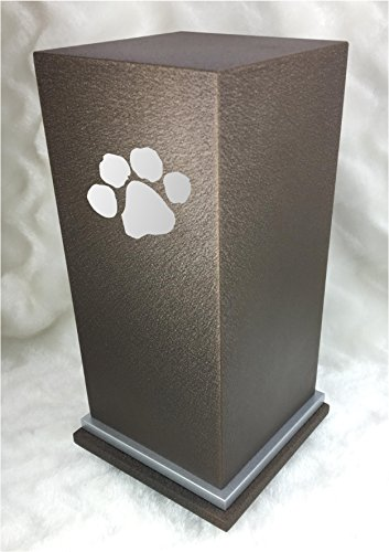 PERSONALIZED Custom Engraved Paw Cremation Urn Vault by Amaranthine Urns, made in the USA, Eaton SE Painted Silver (up to 200 lbs living weight) (Cast Bronze)