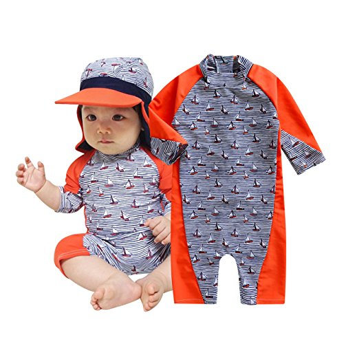 TAIYCYXGAN Baby Toddler Boys One Piece Surfing Suit Zip Up Swimsuit Rash Guard Bathing Suit Sunsuit with Hat UPF 50+