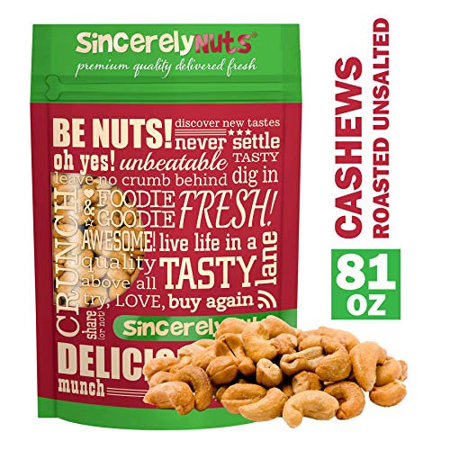 Sincerely Nuts - Whole Cashews Roasted and Unsalted   Five Lb. Bag   Deluxe Kosher Snack Food   Healthy Source of Protein, Vitamin & Mineral Nutritional Content   Gourmet Quality Vegan Cashew Nut
