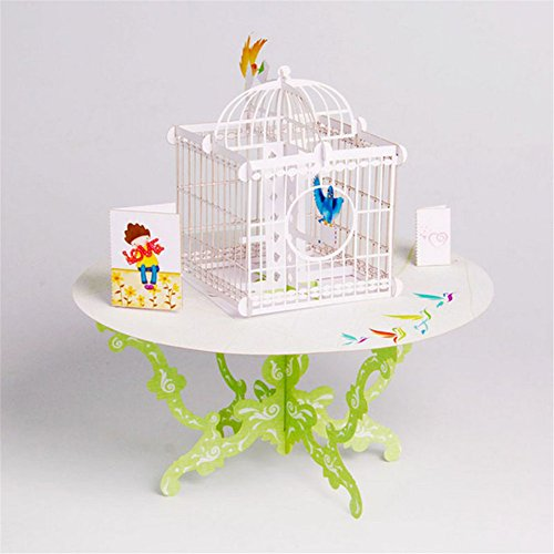 MEXUD-3D Pop Up Birdcage Greeting Card Table Birthday Wedding Postcard Gift Craft (Christmas Personalised Cards Photo)