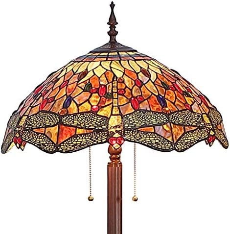 Bieye L11404-3 Dragonfly Tiffany Style Stained Glass Floor Lamp with 18 Inch Wide Handmade Shade, Metal Base with Dark Brown Baking Finish, Orange, 63 inch Tall