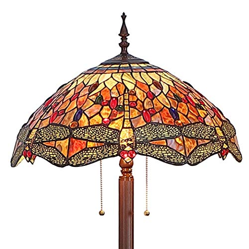 Bieye L11404-3 Dragonfly Tiffany Style Stained Glass Floor Lamp with 18 Inch Wide Handmade Shade, Metal Base with Dark Brown Baking Finish, Orange, 63 inch Tall ()