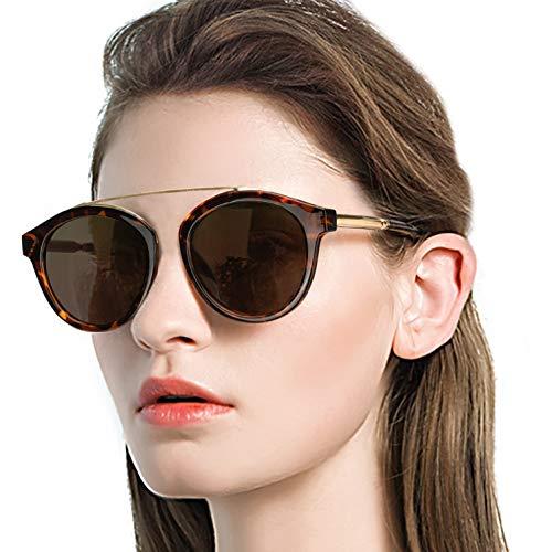 DukeIo Round Sunglasses for Women Fashion-Vintage Retro Stylish Polarized Eyewear 100% UV ()
