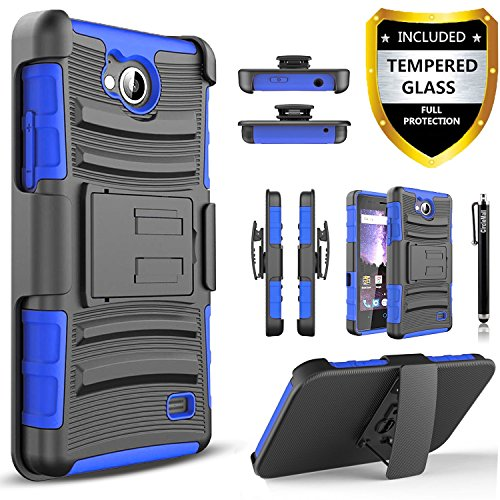 CircleMalls Combo Holster And Built-In Kickstand Case Shockproof Phone Cover And Stylus Pen Compatible For ZTE Majesty Pro / ZTE Majesty Pro Plus / ZTE Tempo, With [Premium Screen Protector]-Blue