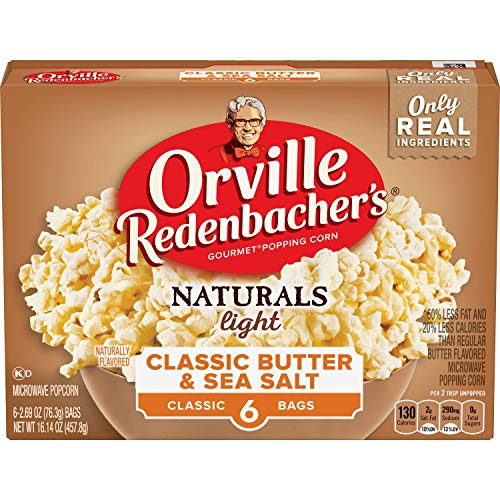 Orville Redenbacher's Naturals Light Classic Butter & Sea Salt Popcorn, Classic Bag, 6 Count (Pack of 6)