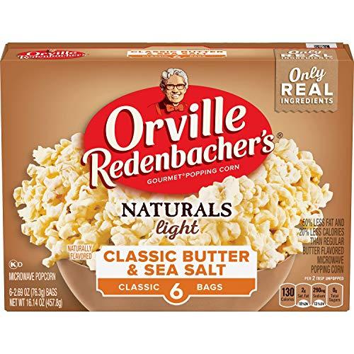 Orville Redenbacher's Naturals Light Classic Butter & Sea Salt Popcorn, Classic Bag, 6 Count (Pack of ()