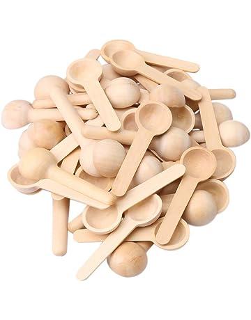 Latte Polvere per Jam Mini Condimento Sale con Manico Corto T/è 8cm 3.3cmYellow Caff/è Cucchiaio Naturale Legno Solido Cucchiaino Spezie,Miele 5 Pezzi Piccoli Cucchiai Legno