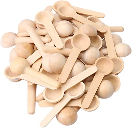 50x Kitchen Wooden Small Mini Spoons for Salt Condiment Coffee Honey
