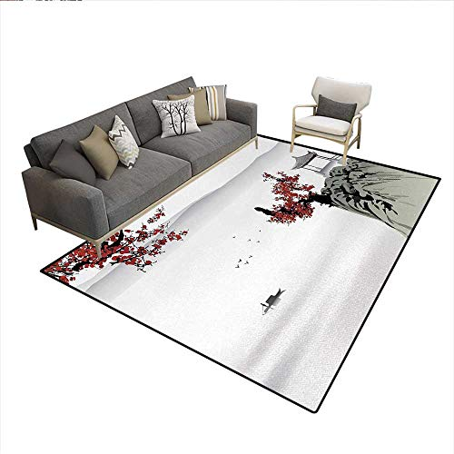 Carpet,Asian River Scenery with Cherry Blossoms Boat Cultural Hints Mystical View Artsy,Print Area Rug,Ruby Pale GreySize:6'x8' -