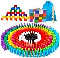 AISFA ドミノ倒し 天然木製 積み木 知育玩具 12カラー 240枚 木製 カラフル こども 誕生日 プレゼント 並べる用道具と収納袋 セット
