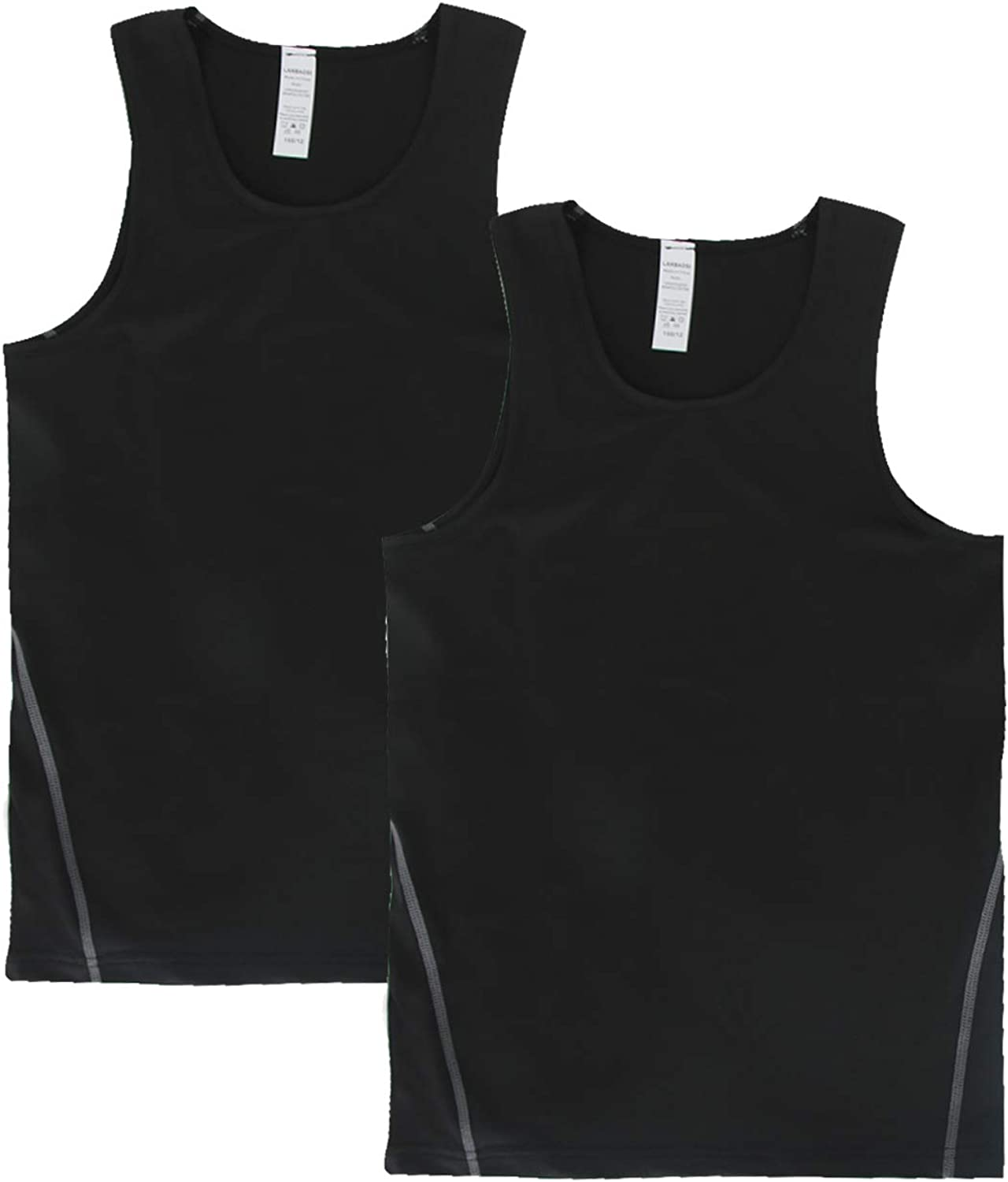 Junyue 2 Pack Boys Active Base Layer Tank Tops Quick Dry Youth Football Compression Sleeveless Shirts