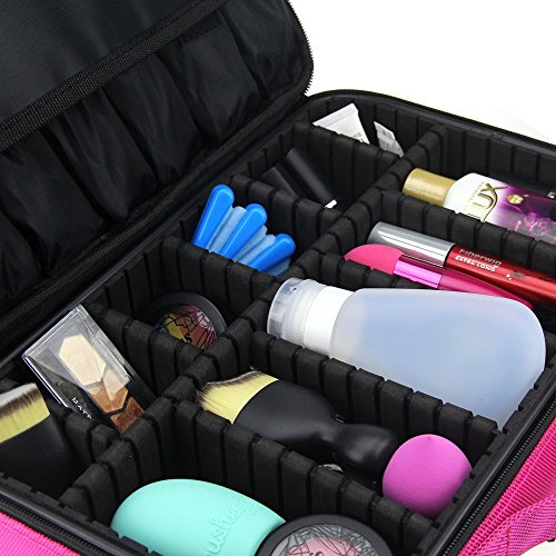 FLYMEI Professional Makeup Case 3 Layer Cosmetic Organizer 16'' Make Up Artist Storage with Shoulder Strap and Adjustable Divider, Pink by FLYMEI (Image #2)