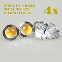 Weanas 4x COB GU5.3 Undimmable LED PA Spotlight Bulb Lamp 3 Watt AC DC 12V/10-20V Warm White 20W Halogen Track Bulb Equivalent Replacement 90° Beam Angle