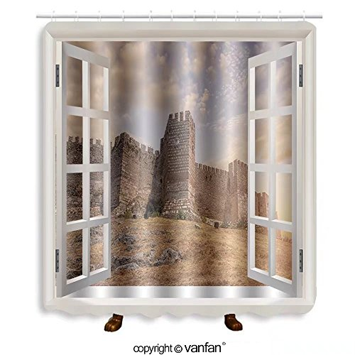Vanfan designed Windows 408510961 Citadel in Selcuk, Turkey Shower Curtains,Waterproof Mildew-Resistant Fabric Shower Curtain For Bathroom Decoration Decor With Shower - Stores Outlets Citadel