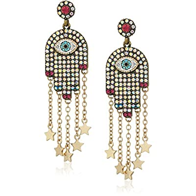 Betsey Johnson Womens Multi-Stone and Gold Hamsa Drop Earrings for cheap