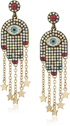 Gold Ring Multi Stone (Betsey Johnson Mystic Baroque Queens Multi-Stone and Gold Hamsa Drop Earrings)