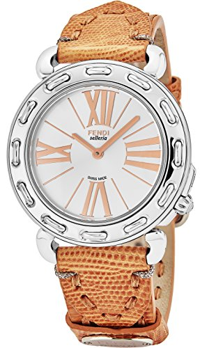 Fendi Selleria Womens Stainless Steel Swiss Fashion Watch with Selleria Horse Logo on Back - Silver Face Brown Lizard Leather Strap Dress Watch For Women with Interchangeable Band - Brown Fendi