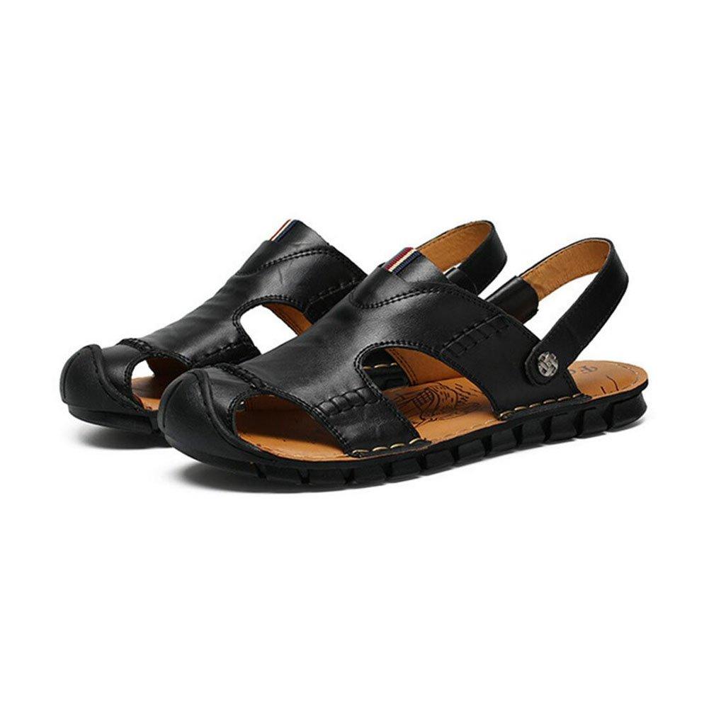 QSYUAN Nuevos Zapatos De Ocio De Los Hombres Sandalias De Fondo Plano Pedal & Comfort Transpirable Amortiguación Equilibrio Antideslizante Bolsa Toe Beach Zapatos Y Zapatos Casuales,Black,42 42|Black