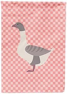 Caroline's Treasures BB7901GF Buff Grey Back Goose Pink Check Garden Flag, Multicolor