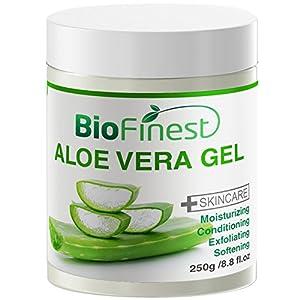 Biofinest Aloe Vera Gel - Absorb Fast/ No Sticky Residue - Best Moisturizer For Sun Burn/ Eczema/ Insect Bites/ Dry Damaged Aging skin (250g)