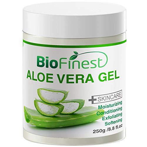 - Biofinest Aloe Vera Gel - Absorb Fast/ No Sticky Residue - Pure Moisturizer For Sun Burn/ Eczema/ Insect Bites/ Dry Damaged Aging skin (250g)