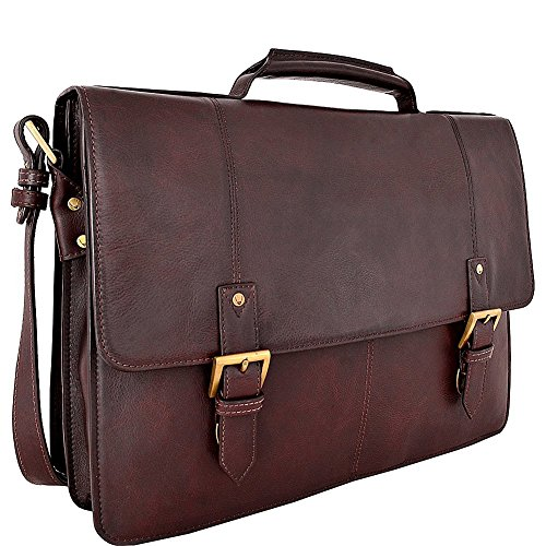 Grain Leather Double Gusset Briefcase - HIDESIGN Charles Large Double Gusset Leather 17