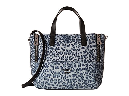 guess-doheny-denim-satchel-tote-bag-handbag-purse-leopard