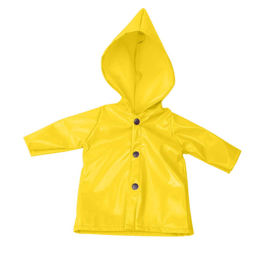 Kasien Doll Rain Clothes, Rain Clothes Dress Hat For American Girl 18 Inch Doll Accessory Girl Toy (Yellow)