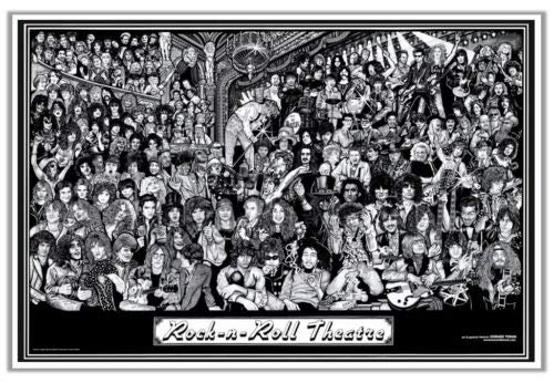 Hotstuff Rock n Roll Theatre Poster Print Rock Metal Alt Punk Music Bands 24