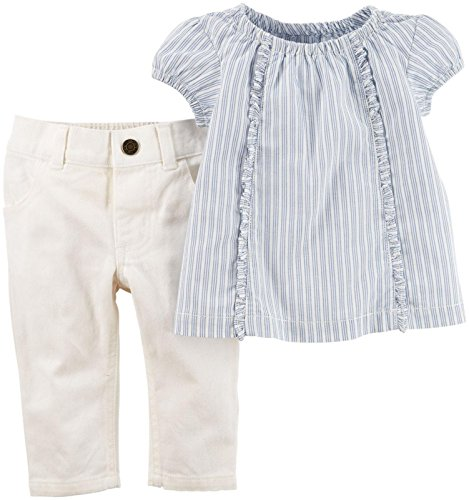 Carter's Baby Girls' Collection 2pc Ticking Stripe, Blue, New Born