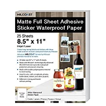 """Milcoast Matte Full Sheet 8.5 x 11"""" Adhesive Tear Resistant Waterproof Photo Craft Paper – For Inkjet / Laser Printers – For Stickers, Labels, Scrapbooks, Bottles, Arts, Crafts (25 Sheets)"""