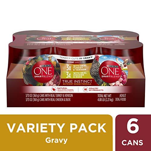 Purina ONE Natural Gravy Wet Dog Food Variety Pack; SmartBlend True Instinct Tender Cuts - (6) 13 oz. Cans (Menu Variety Pack)