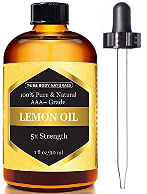 Lemon Essential Oil for Aromatherapy, 5x Extra Strength, 1 fl. oz by Pure Body Naturals