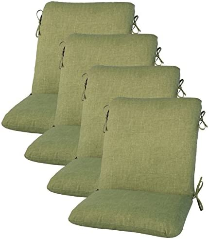 Comfort Classics Inc. Set of 4 Outdoor Dining Chair Cushion 20 x 38 x 3 in Polyester Fabric Leaf