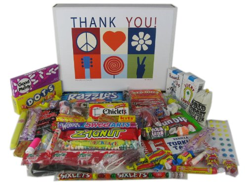 Woodstock Candy Thank You Gift Box Assortment of Retro Nostalgic Candy for Man or Woman