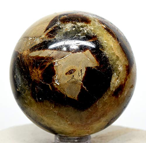 55mm 230g Natural Septarian Dragon Stone Sphere Polished Brown Yellow Calcite Aragonite Crystal Mineral Ball from Madagascar + ()
