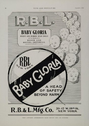 1926 Ad Baby Gloria Bisque Rubber Head Dolls RBL Mfg. - Original Print Ad