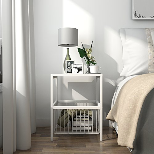 Lifewit 2-tier Side Table End Table, Nightstand with Basket,